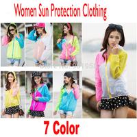 2014 Anti-uv women sun protection clothing long-sleeve color  transparent  cardigan beach thin casacos femininos