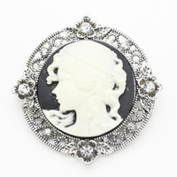 New Victorian Style Filigree Flowers Womens Cameo Brooch Pin , 12 pcs/lot