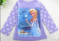 Free shipping 5pcs/lot  Girl Cotton Long sleeve top Spring / Autumn Frozen Elsa and Anna bottoming long-sleeved T-shirt