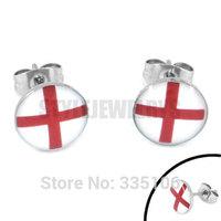 Free Shipping! Enamel England Flag Earrings 2014 World Cup Brazil Stainless Steel Jewelry Motor Earring Studs SJE370085