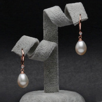 Retro style 8_9mm White Natural Pearl Drop Earrings Freshwater Cultured Pearl For Wemen's Gifts Free Shipping