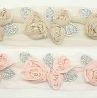 Pearl 3D Rose Flower Chiffon Trim Lace Women baby Girls Hair Accessories Hats Dress Wedding Bridal Clips Headbands