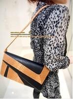 2014 bag clutch fashion  for women serpentine pattern color block day women's envelope clutch handbag vintage small bags