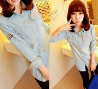 Spring and autumn shirt slim medium-long denim shirt female long-sleeve turn-down collar basic shirt tops