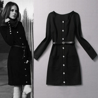 2013 fashion button belt decoration slim elegant long-sleeve knitted one-piece dress basic