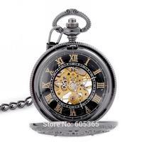 Elegant Skeleton Black Dial Hand Wind Mechanical Men Pocket Watch Nice Gift Wholesale Price H175