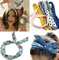 1PC Wholesale Bulk Sweet Lady Girls Rabbit Ear Ribbon Chiffon Headband Hair Band Fashion Summer Beach hair jewelry Free
