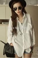 2014 autumn 100% cotton white shirt female medium-long long-sleeve plus size loose professional shirt casual