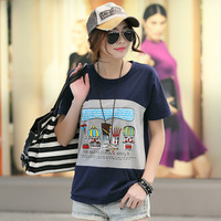Summer short-sleeve T-shirt female cartoon print loose T-shirt plus size mm
