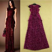 2014 Royal Famous Brand European Fashion Printed Puff Short Sleeve Laciness Layered Slim Purple Retro Evening Dresses