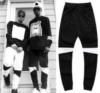 2014 Color block big crotch pants male slim pants men hiphop harem pants sports trousers hanging hiphop pants jogging
