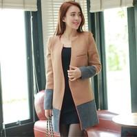 2014 Wool Blends Coat outerwear personalized elegant slim patchwork woolen overcoat women's coats shipping