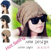 2014 Korea New Design Fashion Flower Women Lace Beanies Hat Jersey Skull Baggy Hat Hip Pop Sports Hat