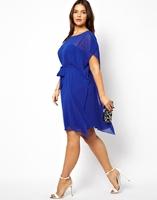 Cute ann fashion plus size solid color chiffon lacing short-sleeve 4 sleeveless one-piece dress