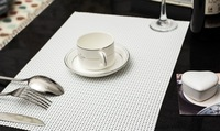 Free Shipping Woven Vinyl Placemats Bar Restaurant Table Mats In white Color Woven vinyl pad in size of 45*30cm