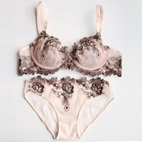 Europe brand design sexy lingerie set lace bra floral women underwear set push up bra brief set 70BC 75BC 80BC 85BC