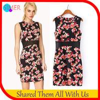Summer Dress 2014 New Fashion Women's Print Tunic Casual Mini Dress Sleeveless O-Neck Dresses vestido de festa Free shipping