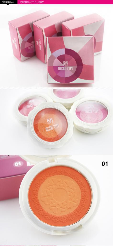 Natural Matte Pink Orange Blush Blusher Powder Makeup Palette + Brush Free Shipping(China (Mainland))