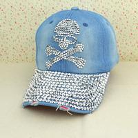 Hip Hop Free Shipping 2014 Fashion Diamond Skulls Baseball Cap Zircon Denim Snapback Caps Women Drill Hats 5colors Gorras