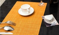 Free Shipping  Vinyl Placemats Bar Restaurant Table Mats In orange Color Woven vinyl placemat in size of 45*30cm
