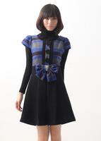 Big Size 5XL! New 2014 Spring Autumn Brand Women's Plaid Bow Casual Slim One-piece Dress Plus Size Clothing High Quality Dress