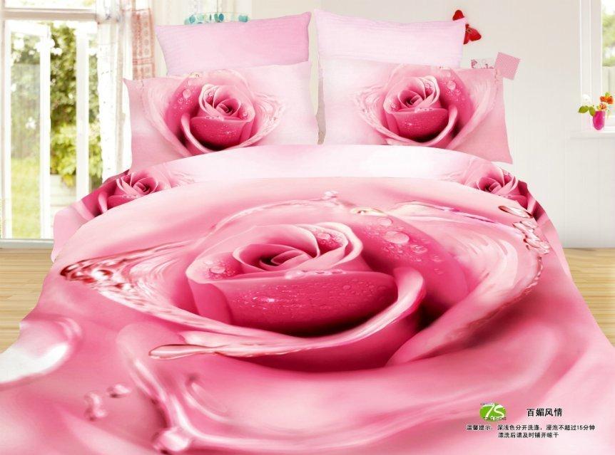 4pcs conjuntos de cama de luxo cetim de algodão 3d a roupa de cama capa de edredon tamanho do conjunto de rainha(China (Mainland))