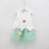2014 Summer Children princess dress girls lace flowers Organza tutu dress kids Pearl Necklace Tank dress children Clothes 3721
