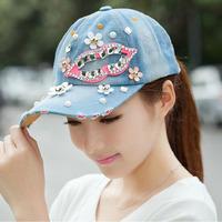 Hip Hop Free Shipping 2014 Fashion Diamond Lips Baseball Cap Zircon Denim Snapback Caps Women Drill Hats 5colors Gorras