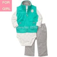 Carter Baby Girl Microfleece 3-piece Leopard Pink Vest Jacket Set Toddler Hooded Zip Clothing Suit, In Store, YW