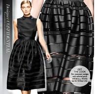 Black stripe organza fabric 100%silk gauze fashion cloth DI*R showing