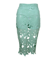 2014 New Women's Fashion Sexy Hollow Out Skirt  Mint Lace Crochet Skirt With Safety Pants Lining  Lace Floral Pencil Skirt