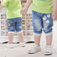 Free shipping 2014 Summer Korean Baby boy Jeans Panda cartoon shorts Kids pants Retail