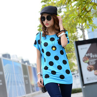 new 2014 summer tshirts nice polka dot printing t shirt women tops plus size clothing XL XXL 3XL 4XL 5XL 6XL t-shirt wholesaler
