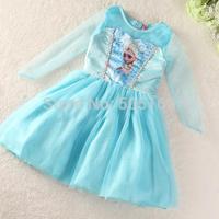 Retail Frozen Dress Elsa Girl Party Dresses Girls Casual Kidsdress Autumn 2014 Kid Princess Costume Baby Clothes tcqg -12 cux