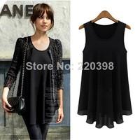 2014 New Fashion Tee Shirts Women Small Vest Tank Basic Dress Top Chiffon Blouse Sleeveless Europe Style Hot Sale Clothes 6605