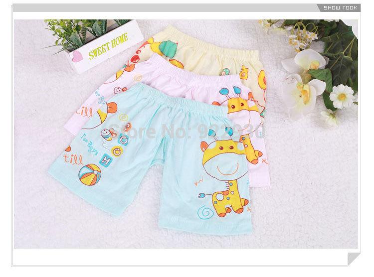 Newborn Cartoon Baby Boys Girls Cotton Split Shots,100% Cotton Open-seat Crotch Short Pants Bottoms(China (Mainland))