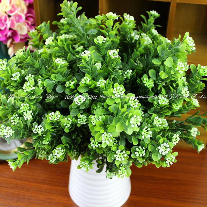 2pcs/lot Rustic Green Artificial Plant 7 Branches Aglaia Plastic Leaf Grass