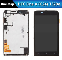 New LCD Display Digitizer Touch Screen Assembly With Frame Parts For HTC One V T320e one v G24 OEM,Free Shipping !!!