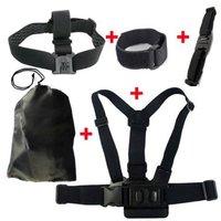 Free Ship.Gopro Accessories Chest Belt+WiFi Remote Wrist Belt+Head Strap Mount+Helmet Strap+Bag Gopro Hero3+ 3 2 Black Edition