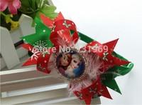 "10 pcs 3.5"" crystal bows frozen Elsa Anna hair headband bows boutique hair clips flower kid Christmas gift hair accessories xmas"