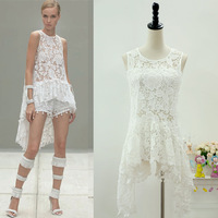 Free Shipping 2014 summer women's backless lace 3PCS dress tops and bottom, sexy white women's clothing set Eurpean Fashion