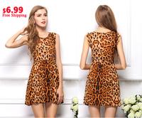 New 2014 Women's Dress Elegant Classical Vintage Sleeveless Vestidos Leopard Loose Casual Summer Mini Print Dresses S-XL #5099