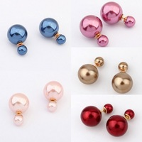 20 Pairs New Fashion Women's Elegant Round Double Faux Pearl Ball Gold Plated Earrings Ear Stud Wholesale Lot Free Shipping
