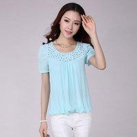 2014 Summer Fashion Tops Chest Diamond Chiffon Blouses Brand Plus Size Loose Puff Sleeve Shirt Women Clothing S- XXXXL 4 Color