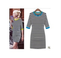 Z8102 Newest autumn women dress white/black strip color Neck Half sleeve lady fashion casual dresses plus size Free shipping