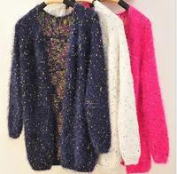 2014 autumn women's long-sleeve polka dot medium-long mohair cardigan sweater outwear