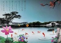 Mural tv background wall traditional chinese painting landsides wallpaper libang wallpaper 33 fish