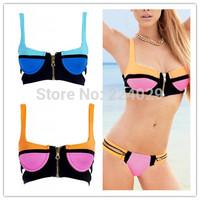 HOT SALE Zipper Bikinis Set Style Zipper Fashion Sport Swimwear Hot Sexy Ladies' Bathing Suit