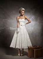 2014 Elegant  A-Line Mid-Calf Sweetheart  Wedding Dress Fashion Off-shoulder  Handmade Flower Lace Dress Short Princess Dress