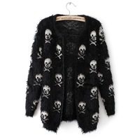 2014 Autumn and winter sweater women's skull mohair medium long cardigan sweater coat Free shipping